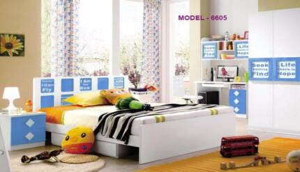 Kids Bedroom Set with Bed, Bedside, Wardrobe, Study Table - 6605