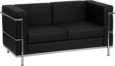 Regal Series Contemporary Black Leather Sofa And Loveseat Set W  Encasing Frame