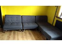 Corner sofa-bed (charcol, click clack) 5seater