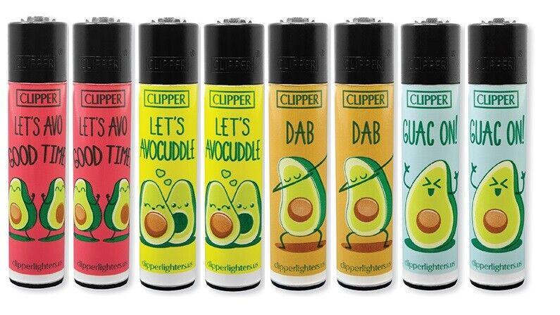 8 Ct Full Size CLIPPER Flint Lighters Refillable AVOCADO DAB