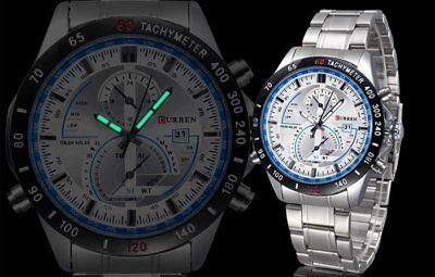 NEW! Curren 8149 Mens Sport Stainless Steel Quartz Analog Calendar Wrist Watch