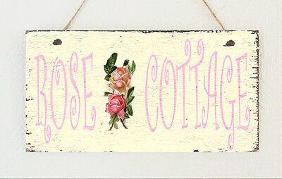 Billig Wand-dekorationen (Handgefertigt Billig Rosa Rose Häuschen Wandbehang Zeichen Schild Schick)