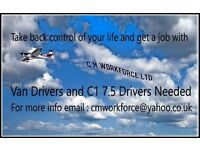 Delivery Drivers Van And CI Lorry Drivers, flexible working days and weekly pay.
