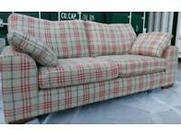 SALE!! EX DISPLAY M&S Beige Red Check Large 3 seater Sofa Nantucket DELIVERY AVAILABLE