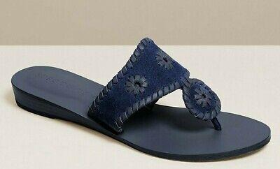 NEW Jack Rogers JACKS Suede Demi Wedge Slides Mules Midnight Navy Sandals 9.5