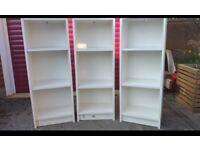 3 x White book shelf cupboards