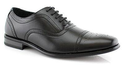 NEW * DELLI ALDO * MENS LEATHER LACE UP OXFORDS CAP TOE DRESS SHOES / BLACK Black Leather Dress Shoes