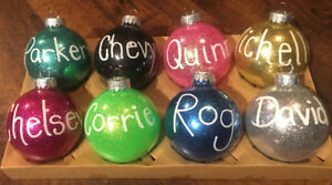 Personalized Christmas Ornaments with hand painted names!