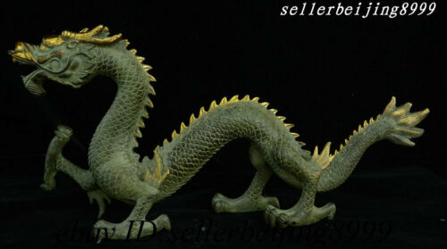 Auspicious China Bronze Gilt Fengshui Wealth Emperor Immortal Dragon God Statue