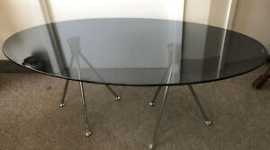 Coffee table tinted black tempered glass,  End table