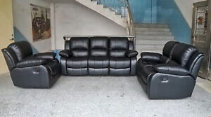 3 PCS FURNITURE LEATHER COUCH SET LOVESEAT RECLINER LIVING ROOM