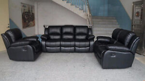 3 PEICE FURNITURE BLACK LEATHER COUCH SET RECLINER LIVING ROOM