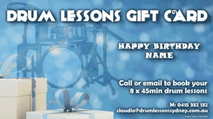 Drum Lessons Gift Card Caringbah Sutherland Area Preview