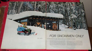 1966 MAN'S SKI CABIN WITH SNOWMOBILE PICTURE - CABANE MOTONEIGE