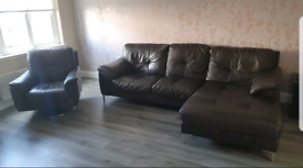 Leather 3 seater Sofa with Chaise and swivel arm chair