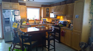 Oak Kitchen Cabinets with Countertop and Sink