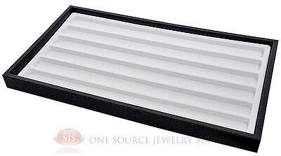 Black Plastic Stackable Tray W 6 Slot Compartment White Jewelry Display Insert