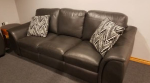 FREE Dark Grey Leather Couch, Love Seat & Chair with Ottoman