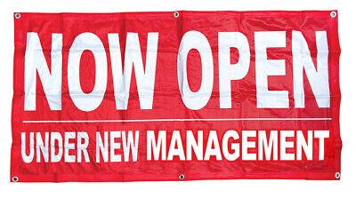 Now Open Under New Management Banner Sign Vinyl Alternative 2x4 Ft Fabric Rb