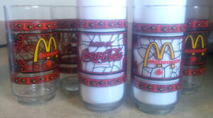 5 Vintage 1970s Coca Cola McDonalds glasses