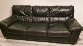 3 seater black leather sofa - free - collection only