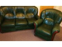 Leather 3 Seater & Chair, Green with Wood Detail Excellent Condition