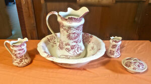Antique Pitcher, Basin, Soap Dish, Smaller Pitcher, Brush Dish
