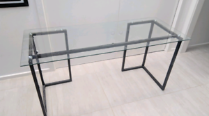 Glass desk with metal frame