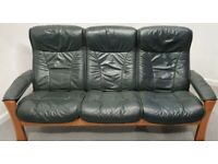 Ekornes Stressless 3 seater recliner leather sofa green 2603216