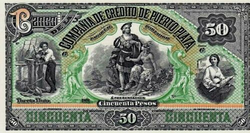 ABNC PROOF OR INTAGLIO PRINT OF 50 PESOS NOTE PUERTO PLATA DOMINICAN REPUBLIC