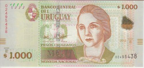 URUGUAY 1,000 1.000 1000 PESOS 2015 BANKNOTE PNEW, UNC