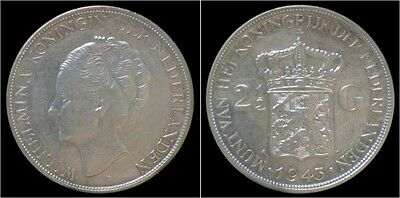Nederland Wilhelmina I 2 1/2 gulden(rijksdaalder)1943
