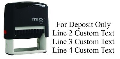 For Deposit Only Traxx 9012 Custom 4 Line Return Address Self Ink Rubber Stamp