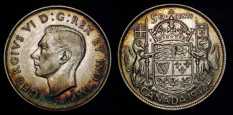 CANADA 1942 Silver Fifty Cents XF+
