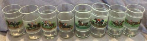 Horse Racing Racehorses Hand Painted Tumbler Glasses Set of 8