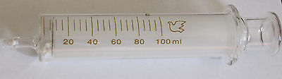 Glass Syringe 100 Ml Cc Re-usable Lab Ink Sampler No Needle New