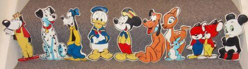 9 Very Rare Vintage 1963 Disney 3D Vinyl Wall Decorations Mickey Mouse Goofy Etc