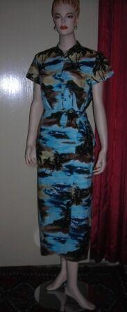 Hilo Hattie Hawaiian Cheong Sam Turquoise Blue Skirt and Shirt Set Small XS NWOT