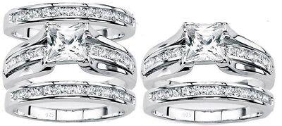 Women's 925 sterling silver Princess Cut Wedding  Ring set band or ring -