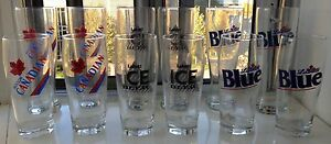 12 beer glasses Molson Canadian, Labatt Blue, Ice NEW