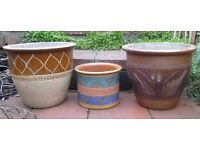 Job lot Plant Pots - Terracotta clay glazed painted planters x 3 £10 ovno