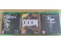 Xbox games, brand new sealed, fallout 4, Doom & Dishonoured 2