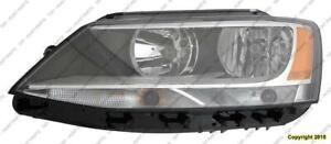 Head Light Driver Side Halogen Sedan Volkswagen Jetta 2011-2016