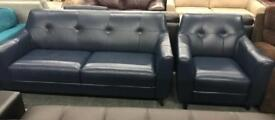 DFS Ritchie Blue leather 3 seater sofa and Armchair