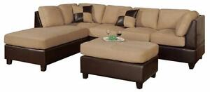 FREE Delivery in Calgary! Microfiber Sectional Sofa with Reversible Chaise!
