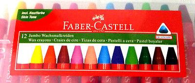 Faber-Castell 12 Stück Jumbo Wachsmalkreiden Ergonomisch Dreiecksform