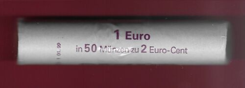 GERMANY 1 EURO CENT 2002-F BU ROLL 50 COINS,OAK LEAVES,DENOMINATION