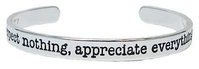Expect Nothing Appreciate Everything Silver Cuff Bangle Bracelet Jewelry Stack