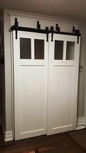 Easy to install barn door hardware,& custom doors