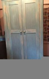 Single Shabby Chic Wardrobe painted in a beautiful blue/green